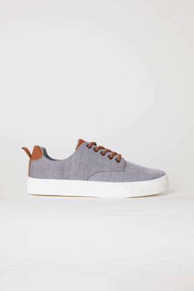 Cotton chambray trainers - Grey - Kids | H&M CN