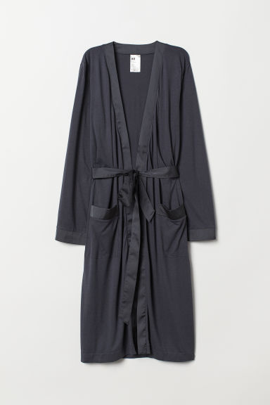 Jersey dressing gown - Dark grey - Ladies | H&M