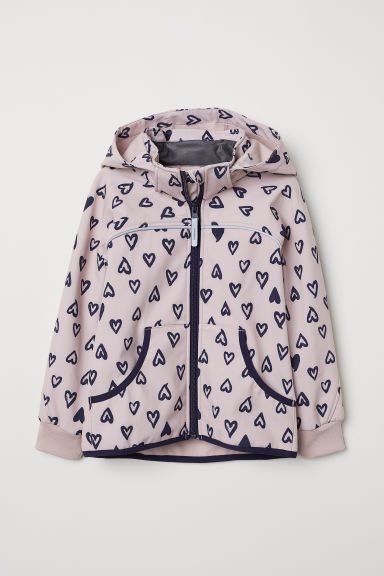 Softshell jacket - Light pink/Hearts - Kids | H&M