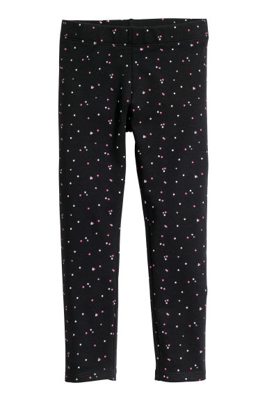 Sturdy jersey leggings - Black/Spotted - Kids | H&M