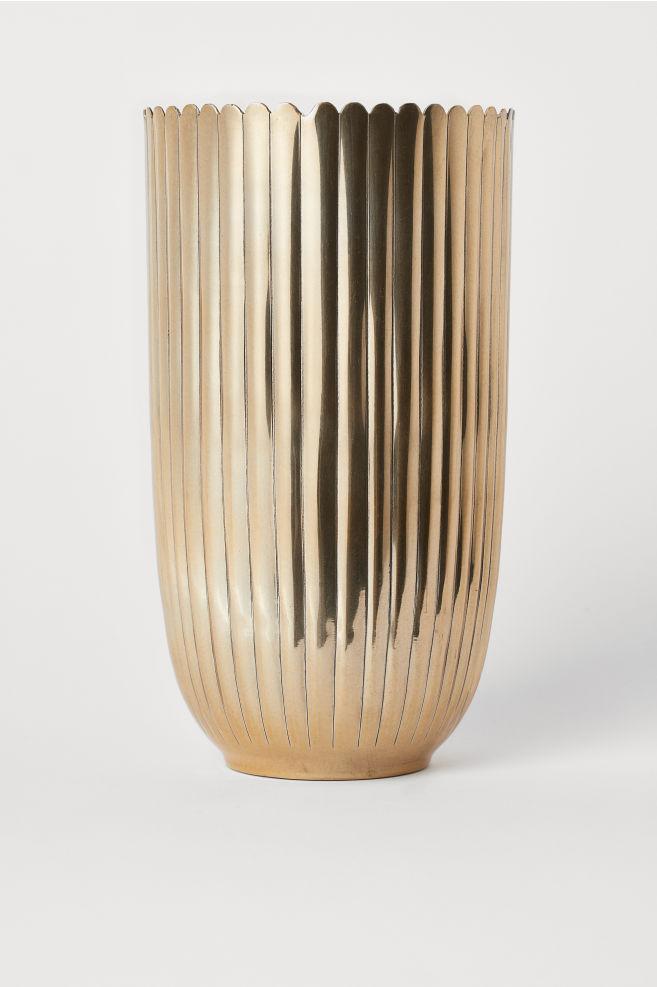 Hohe Vase Aus Metall Goldfarben Home Hm Ch