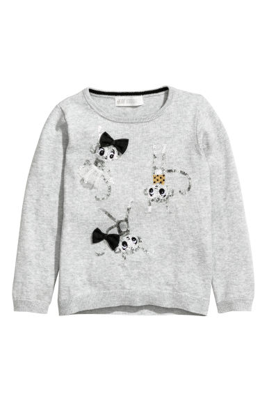 Knitted jumper with a motif - Light grey/Monkeys - Kids | H&M