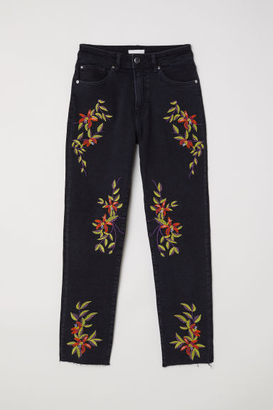 Jeans with embroidery - Black/Embroidery - Ladies | H&M CN