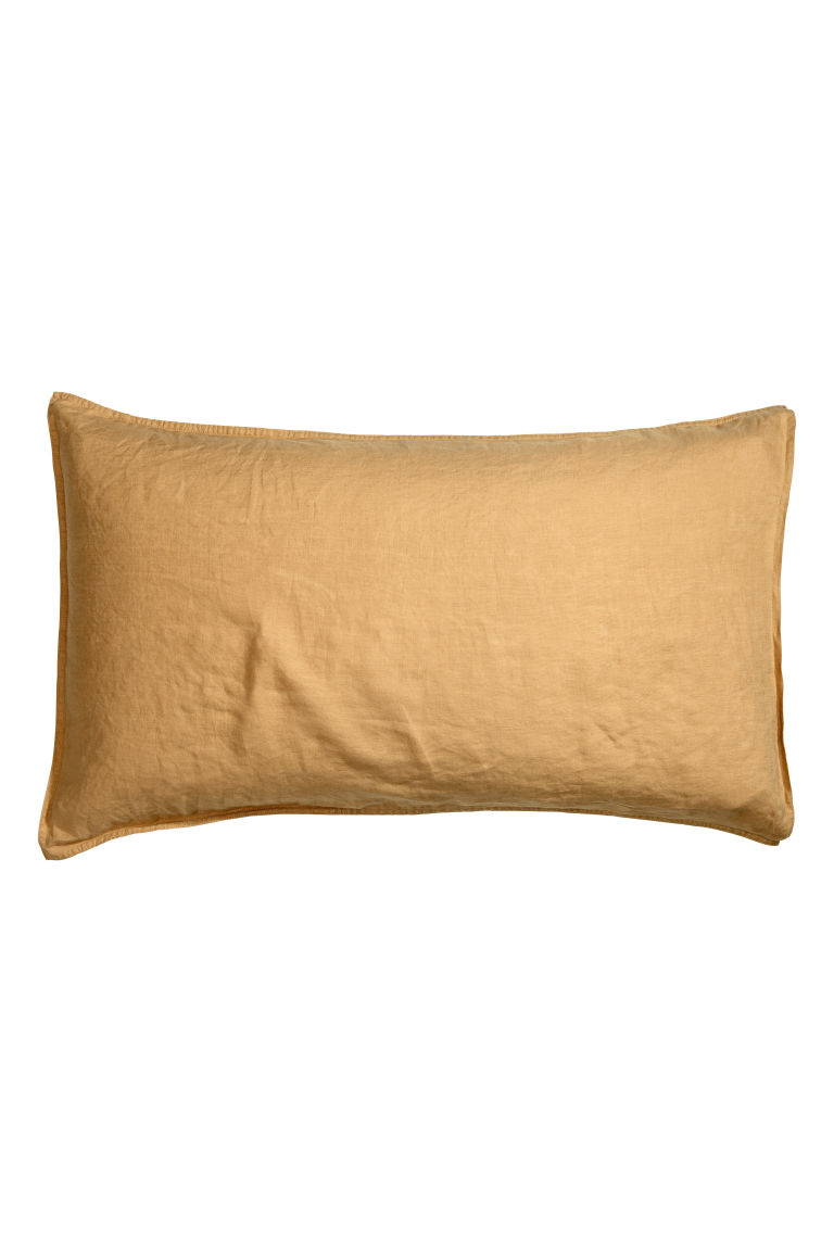 Washed linen pillowcase - Light mustard yellow - Home All | H&M CN
