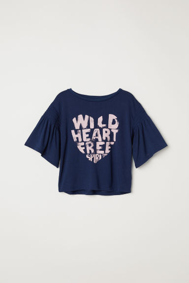 Flounce-sleeved top - Dark blue/Wild Heart -  | H&M CN
