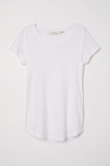Top a maniche corte in jersey - Bianco - DONNA | H&M IT
