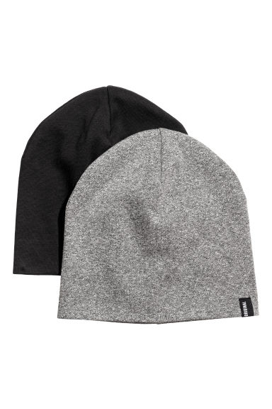 2-pack jersey hats - Black marl - Kids | H&M