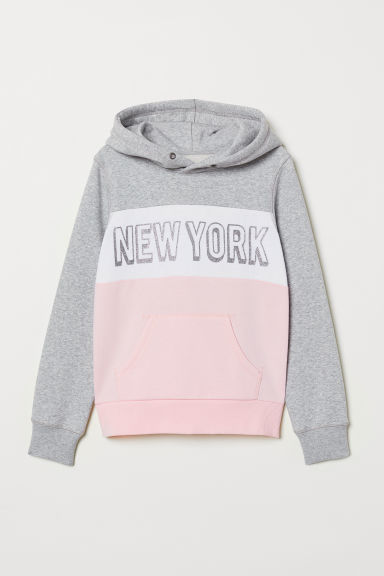 Hooded top with a motif - Light pink/Block-coloured - Kids | H&M