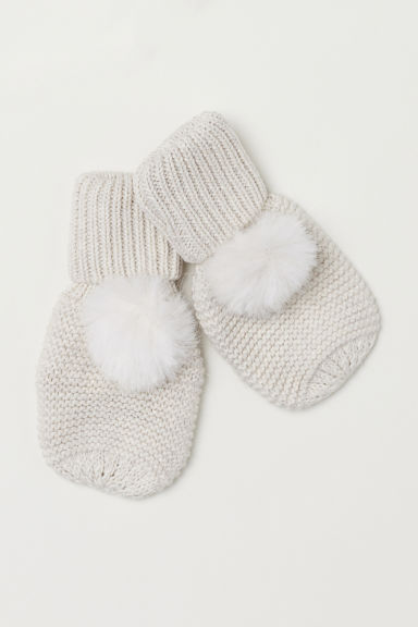Mittens with pompoms - Natural white - Kids | H&M