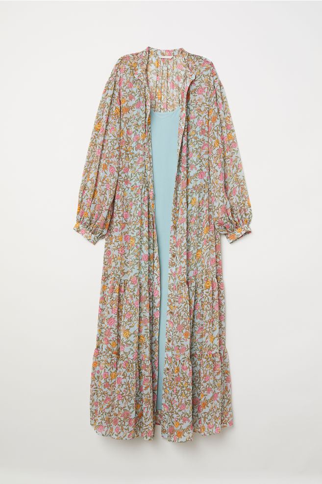 8527633dcc6f8 Crinkled long dress - Light blue/Floral - Ladies | H&M ...
