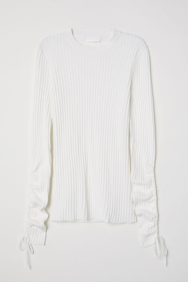 Ribbed cotton-blend jumper - White -  | H&M
