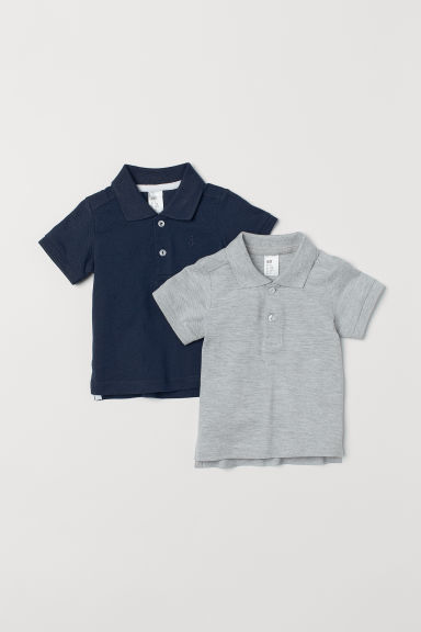 2-pack polo shirts - Dark blue/Light grey marl - Kids | H&M GB