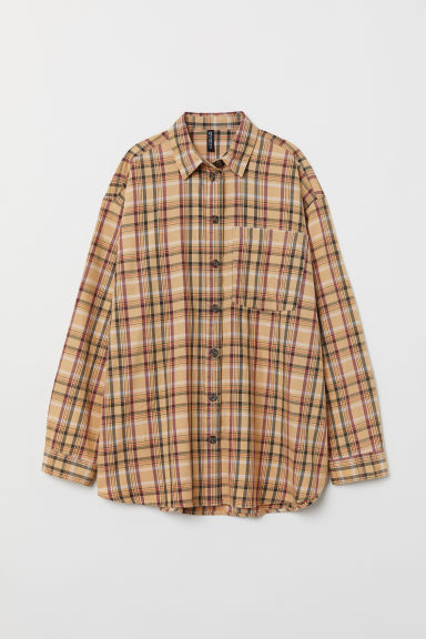 Checked twill shirt - Beige/Checked -  | H&M