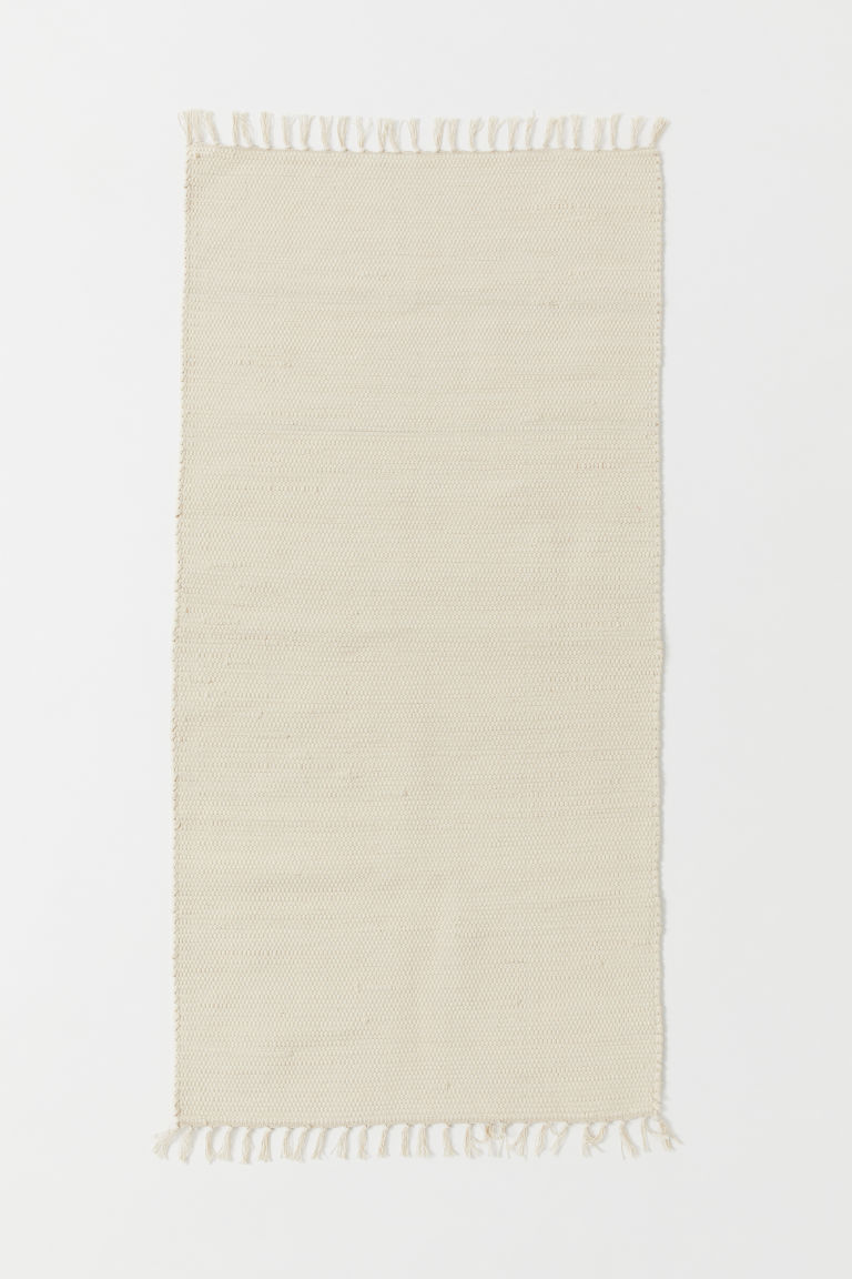 Handwoven cotton rug - Natural white - Home All | H&M CN