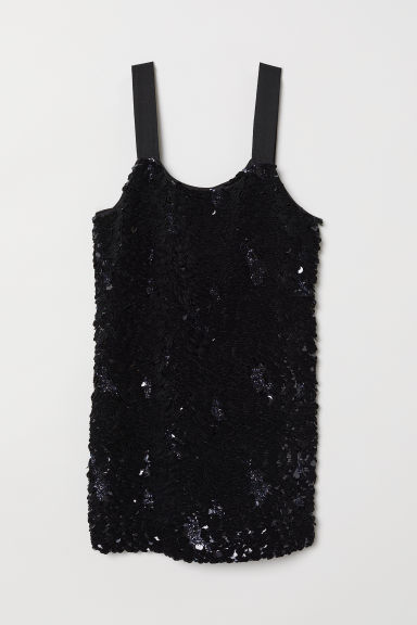 Short sequined dress - Black -  | H&M
