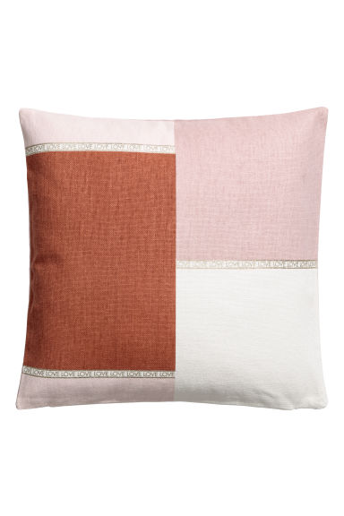 Block-patterned cushion cover - Rust brown/Multicoloured - Home All | H&M CN
