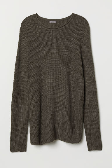 Textured-knit jumper - Dark grey - Men | H&M CN