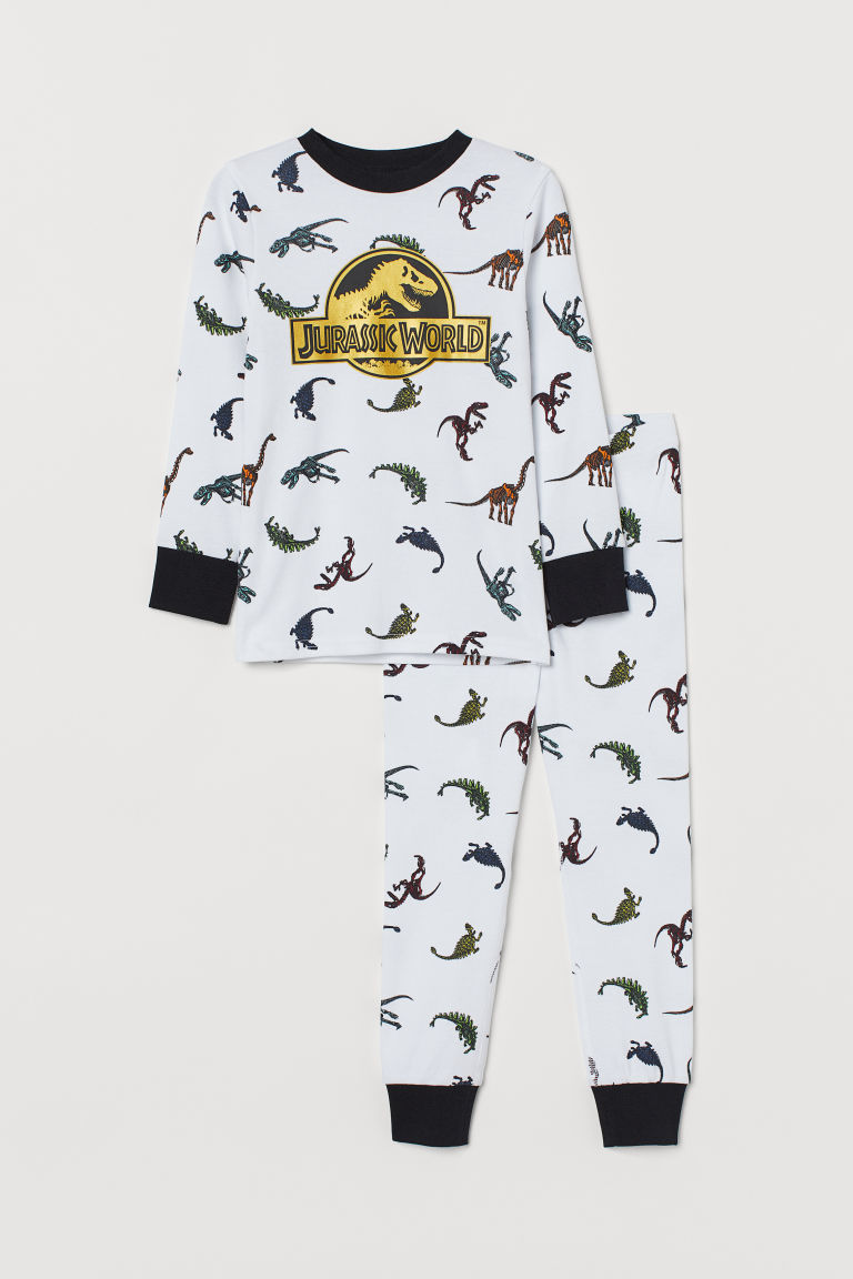 Printed pyjamas - White/Jurassic World - Kids | H&M