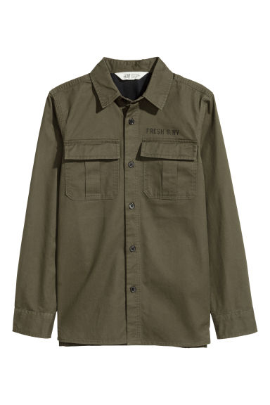 Cotton cargo shirt - Khaki green - Kids | H&M CN