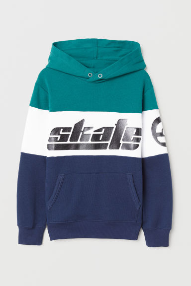 Printed hooded top - Green/Skate - Kids | H&M CN