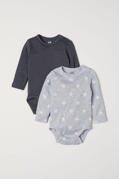 2-pack long-sleeved bodysuits - Grey/Stars - Kids | H&M CN