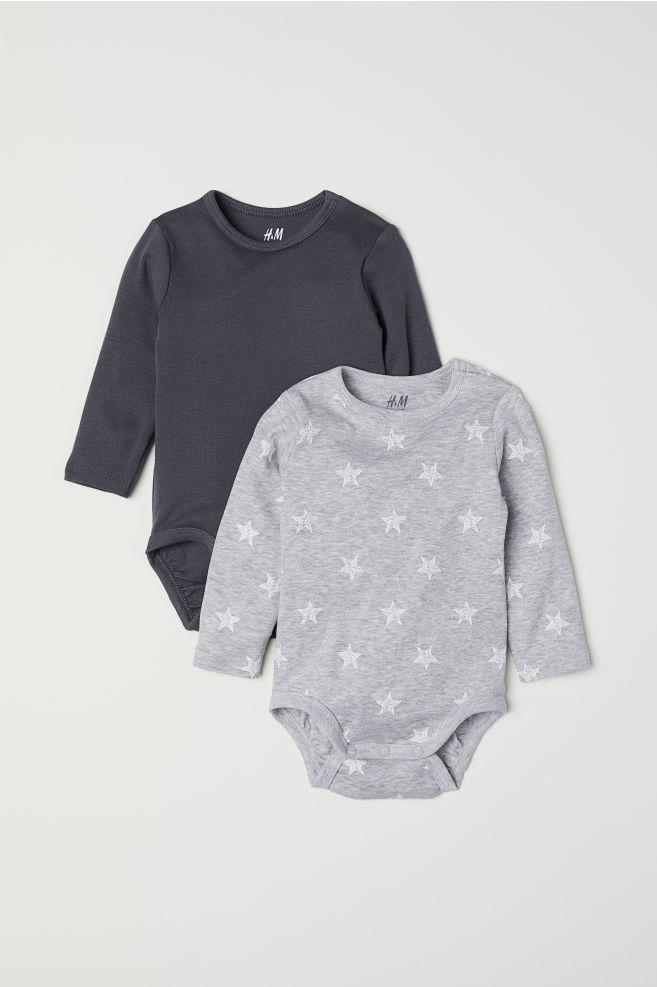 eab925508 2-pack long-sleeved bodysuits - Grey Stars - Kids