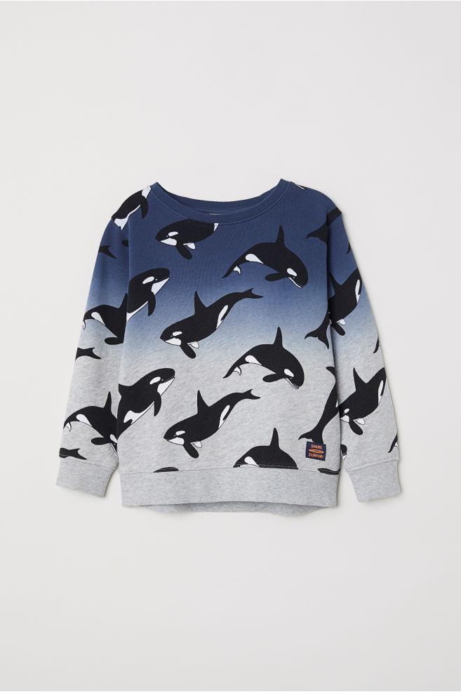4d3bf760a170 Printed sweatshirt - Grey Killer whales - Kids