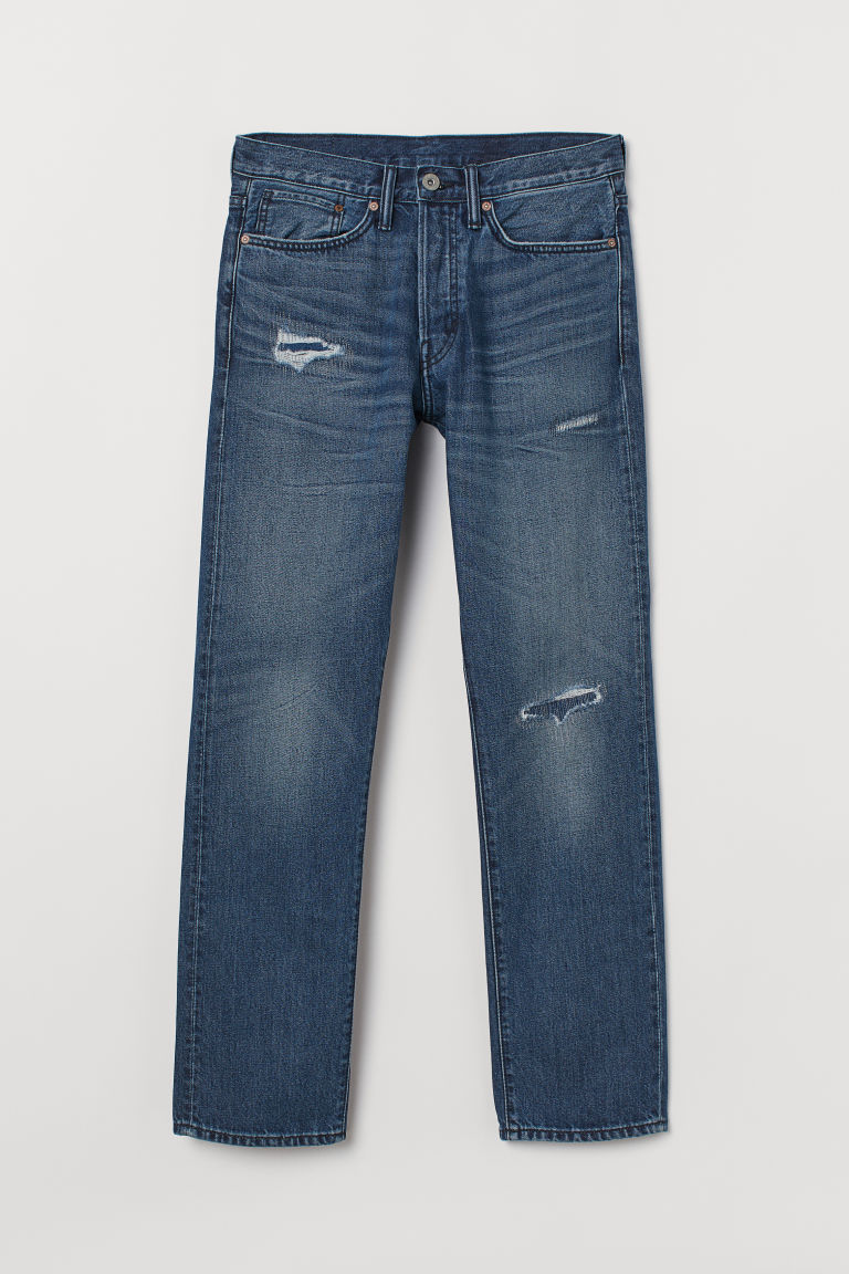 Straight Jeans - Denimblauw/washed - HEREN | H&M BE