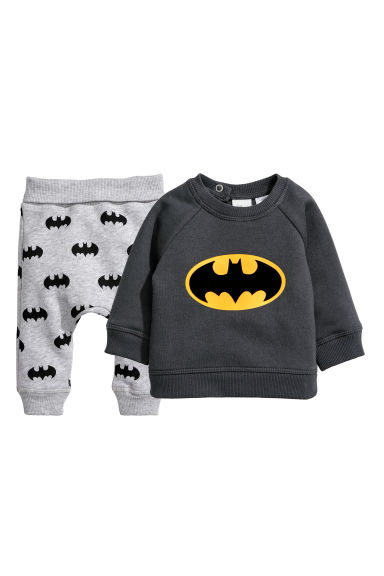 Sweat-shirt et pantalon jogger - Gris foncé/Batman - ENFANT | H&M BE