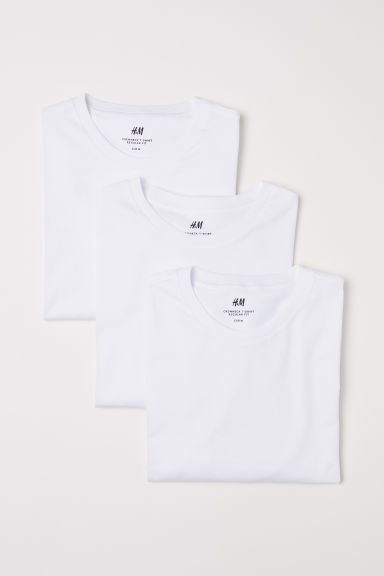 3-pack T-shirts Regular fit - White - Men | H&M