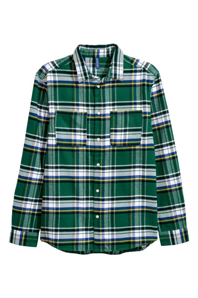 289c9ddf Flanellskjorte - Mørk grønn/Rutet - HERRE | H&M ...