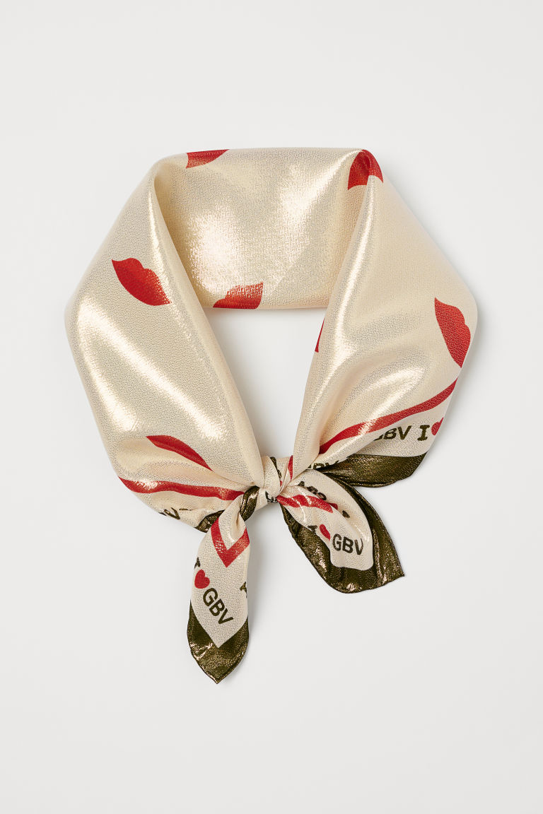 Silk lamé scarf - Golden beige - Ladies | H&M CN