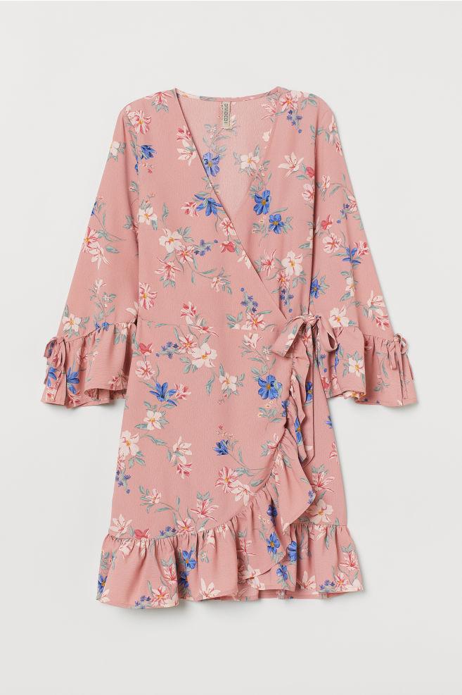 bcf8c8329b71 Mønstret slå om-kjole - Lys rosa Blomstret - DAME