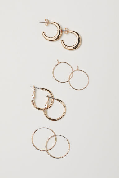 4 pairs small earrings - Gold-coloured - Ladies | H&M CN