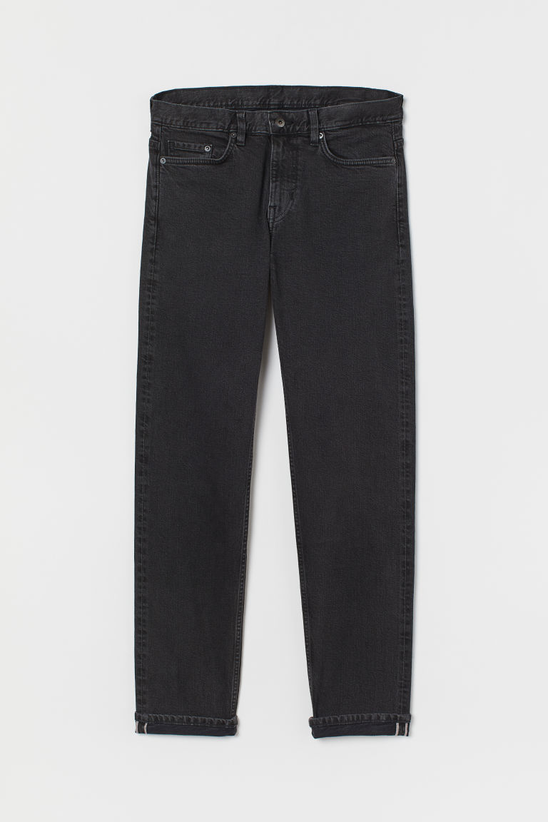 Straight Selvedge Jeans - Black/Washed - Men | H&M IE