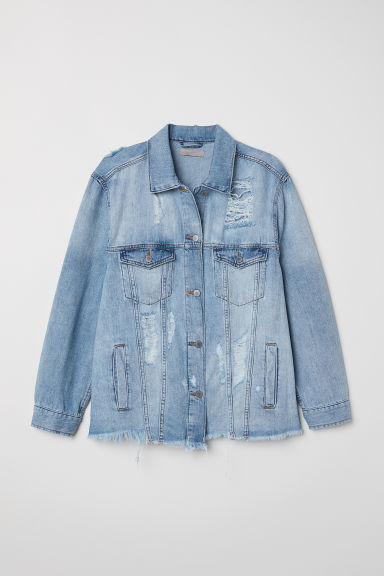 H&M+ Trashed denim jacket - Light denim blue - Ladies | H&M CN