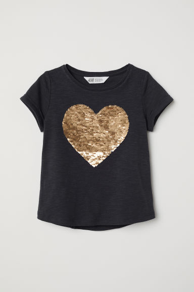 T-shirt with a motif - Dark blue/Heart - Kids | H&M CN