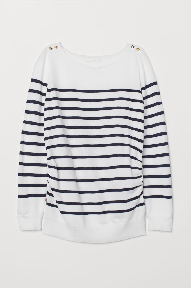 8cdd88597780 MAMA Fine-knit Sweater - White/blue striped - Ladies | H&M ...