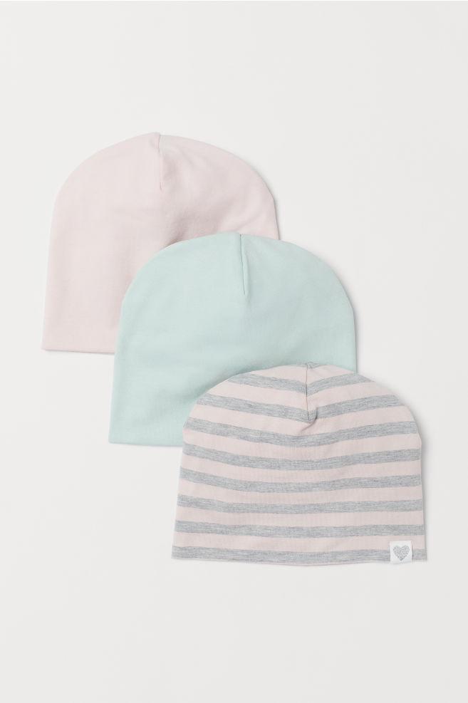 6e2fceb3 3-pack Jersey Hats - Light pink/gray striped - Kids | H&M US