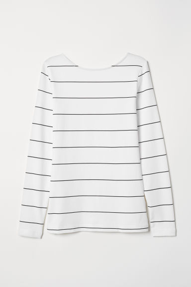 Fitted jersey top - White/Striped - Ladies | H&M