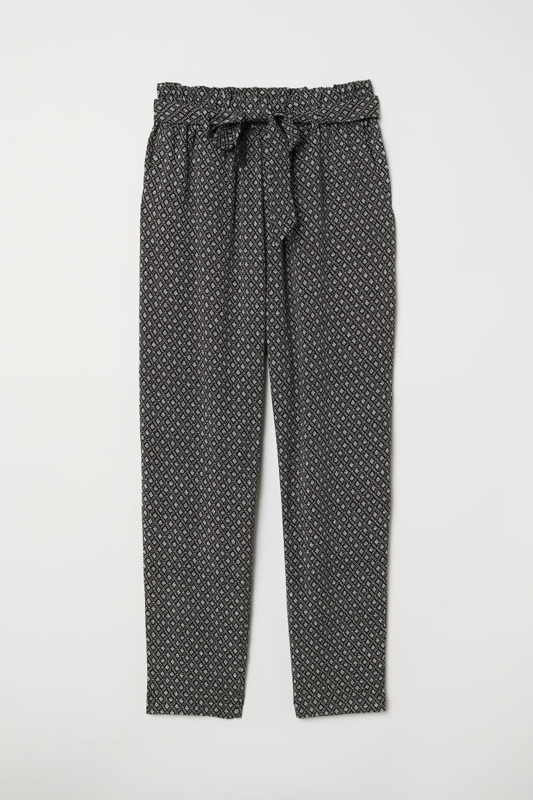 Paper bag trousers - Black/Patterned - Ladies | H&M