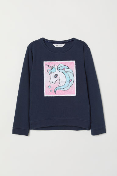 Sweatshirt with Motif - Dark blue/unicorn - Kids | H&M CA