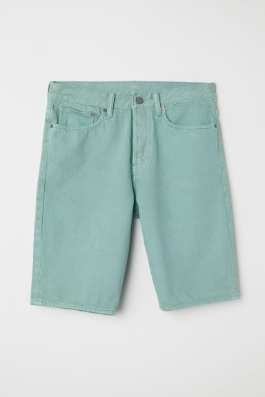 Straight Denim Short - Lichtgroen - HEREN | H&M BE