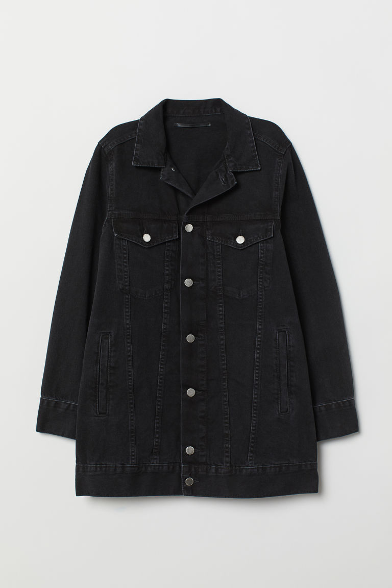 Long denim jacket - Black/Washed out - Ladies | H&M CN