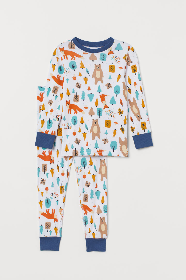 Jersey pyjamas - White/Forest - Kids | H&M GB