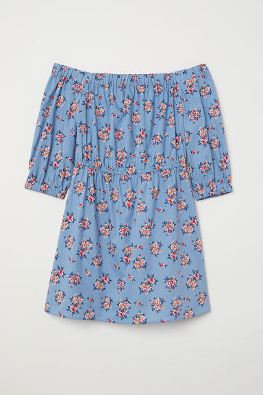 Off-the-shoulder dress - Blue/Floral - Ladies | H&M CN