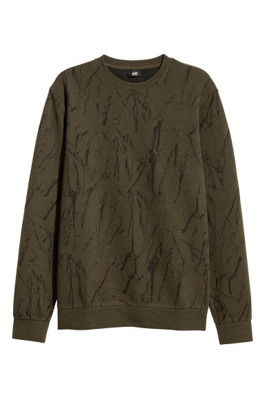 Jacquard-knit jumper - Dark khaki green -  | H&M CN