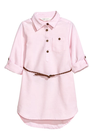 Shirt dress with a belt - Light pink/Chambray - Kids | H&M