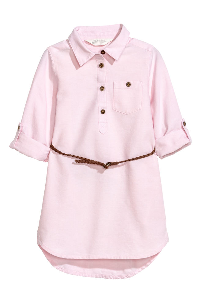 0a6809505fbb Shirt dress with a belt - Light pink Chambray - Kids