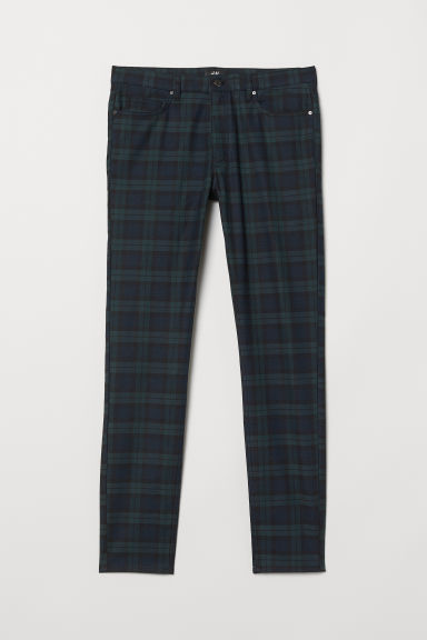 Twill trousers Skinny fit - Dark blue/Checked - Men | H&M